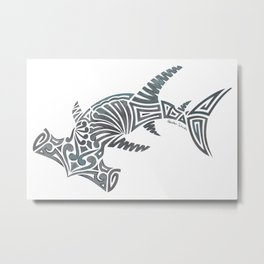 Tribal Hammerhead Shark Metal Print