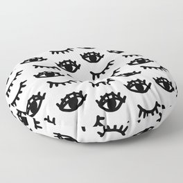 Graphic black and white eyes Floor Pillow