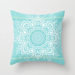 mandala bohemian embellishments floral medallion turquoise Throw Pillow