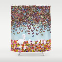 bunnies, flowers, and butterflies Shower Curtain
