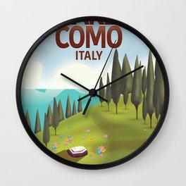 Lake Como Italy travel poster Wall Clock