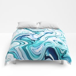 Liquid Marble - aqua & blues Comforters