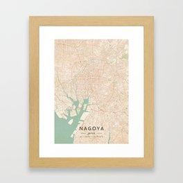Nagoya, Japan - Vintage Map Framed Art Print