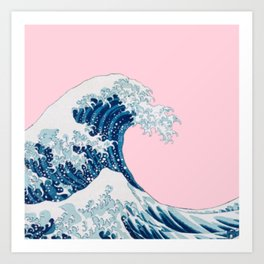 The Great Wave with Pastel Pink Background Art Print