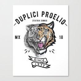 DUPLICI PROELIO Tiger by leo Tezcucano Canvas Print
