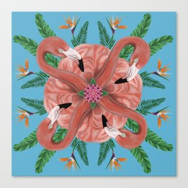 Flamingo Tropical Mandala Canvas Print