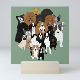 Dogs, A Cat, And A Chicken Mini Art Print