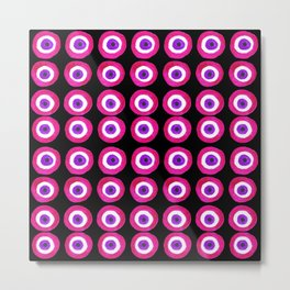Evil Eye Amulet Talisman in Pink on Black Metal Print