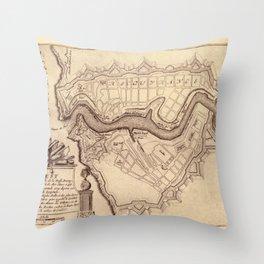 Map Of Brest 1693 Throw Pillow