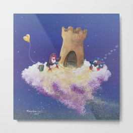 Penguins Dream and Desire Creating Their New Castle Home Metal Print