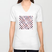 plaid V-neck T-shirts featuring Christmas Plaid by Josh Franke