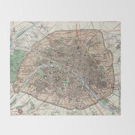 Vintage Map of Paris France (1872) Throw Blanket
