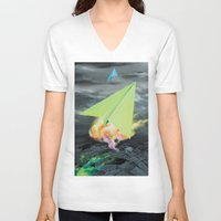 planes V-neck T-shirts featuring Paper planes by VikaValter