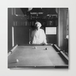 1891 Mark Twain playing billiards, pool black and white vintage photograph / photography Metal Print