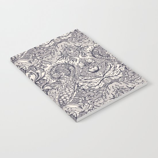 Natural Rhythm 2 - a hand drawn pattern in charcoal & cream Notebook