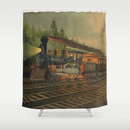 Night Scene on the NY Central Railroad (Currier & Ives) Shower Curtain