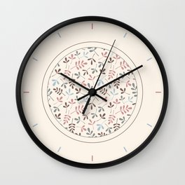 Assorted Leaf Silhouettes Pastel Colors Pattern Wall Clock