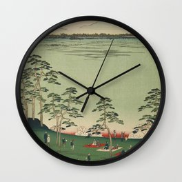 Spring Trees Mountain Ukiyo-e Japanese Art Wall Clock