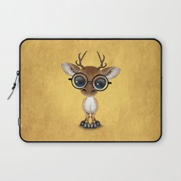 Cute Curious Nerdy Baby Deer Wearing Glasses on Yellow Laptop Sleeve