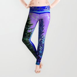 BLUE-LILAC WINTER SNOWFLAKE CRYSTALS FOREST ART DESIGN Leggings
