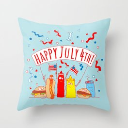 Happy July Fourth Picnic Throw Pillow