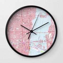 Vintage Map of Miami Florida (1962) Wall Clock