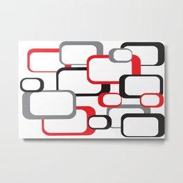 Red Black Gray Retro Square Pattern White Metal Print