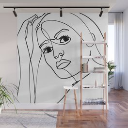 "One Line Art Girl Portrait ""Natural Beauty"" Wall Mural"