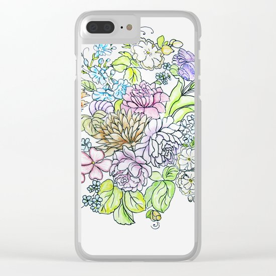 arrangement of flowers in pastel shades on a white background Clear iPhone Case