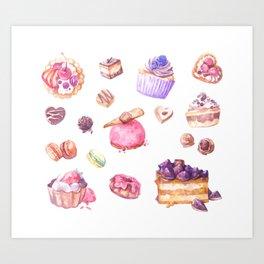 Sweet as Cake: Dessert Illustrations Art Print