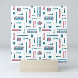 Cosmetic Items Repeating Pattern Mini Art Print