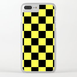 Black and Yellow Checkerboard Pattern Clear iPhone Case