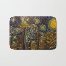 Dedication to Van Gogh: Seattle Starry Night Bath Mat