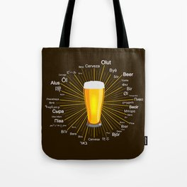 """Beer"" in 45 different languages Tote Bag"