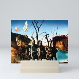 Salvador Dali Swans Reflecting Elephants 1937 Artwork for Wall Art, Prints, Posters, Tshirts, Men, Women, Kids Mini Art Print