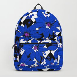 HARLEQUIN AND POINSETTIAS BLACK AND WHITE AND BLUE Backpack