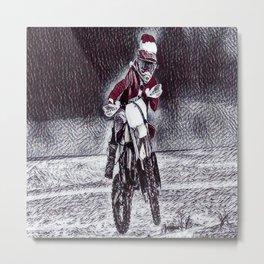 Moto Santa Metal Print