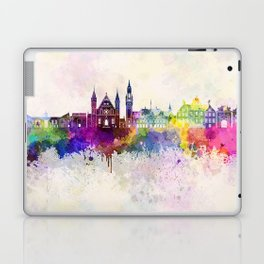 The Hague V2 skyline in watercolor background Laptop & iPad Skin