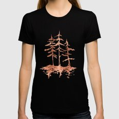THE THREE SISTERS Trees Rose Gold SMALL Womens Fitted Tee Black