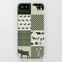 Camping hunter green plaid quilt cheater quilt baby nursery cute pattern bear moose cabin life iPhone Case