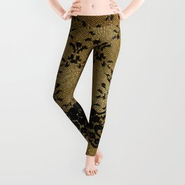 Black floral elegant lace on gold metal background Leggings