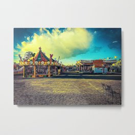 Rides and carousels in a Luna Park shortly before sunset in autumn Metal Print