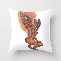 tyrion Throw Pillows featuring Land Taniwha by Ariel Ni-Wei Huang