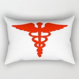 Caduceus Medical Symbol Red Rectangular Pillow