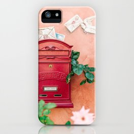 """Travel photography print """"Red mailbox in Tuscany """" photo art made in Italy. Colorful photo pastel iPhone Case"""