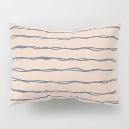 Minimalist Stripes Navy Gray on Blush Pink Pillow Sham