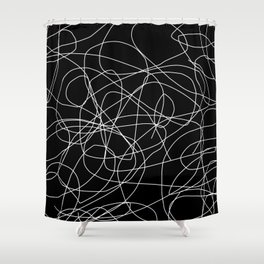 Abstract Black and White Minimal Linework Shower Curtain