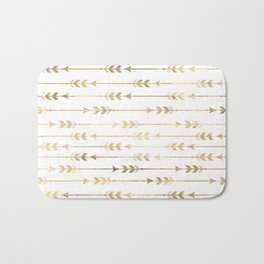White & Gold Arrow Pattern Bath Mat
