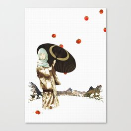 japanese girl with tomatoes Canvas Print