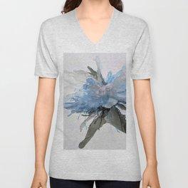 Ink Flower Blue Unisex V-Neck